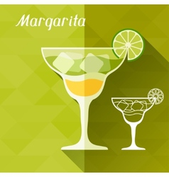 with glass margarita in flat design style vector image