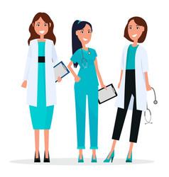 women team three pretty smiling doctors flat vector image