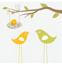 Baby arriving card with birds family and egg in vector image
