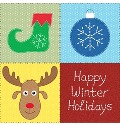 Christmas patchwork vector image vector image