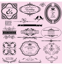 Collection of wedding calligraphic frames and vector image vector image