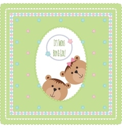 Greeting card with bears and flowers vector image vector image