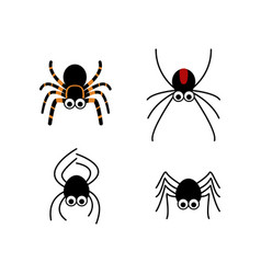 set of cute spider in simple style vector image vector image