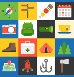 camping icons flat design vector image vector image