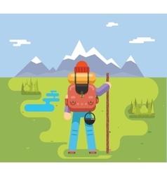Mountain Travel Trip Vacation Backpaker Man Wood vector image vector image