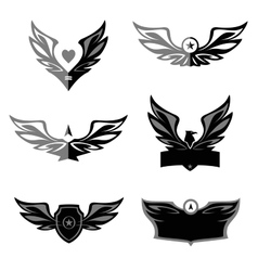 Set of patterns logo depicting an eagle a vector image