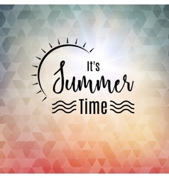 Summer time polygonal background with sun Travel vector image