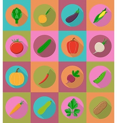 vegetables flat icons 20 vector image