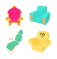 armchair icon set cartoon style vector image vector image