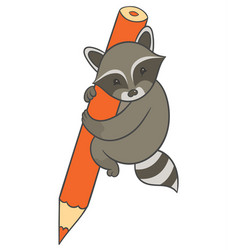 raccoon holding large colored pencil vector image vector image