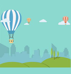 retro hot air balloon sky background vector image