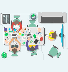 top view teamwork of business people in office vector image vector image