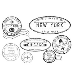 black mail stamps of new york and chicago vector image