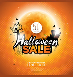 hallowen sale with moon cemetery and bats on vector image vector image