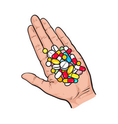 hand holding pile of colorful pills tablets in vector image vector image