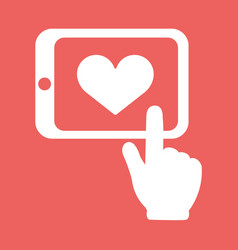 hands holding tablet with heart sign flat white vector image vector image