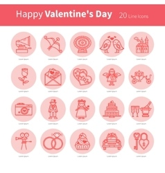 Love Set of linear icons vector image