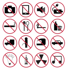 Prohibition signs set vector image