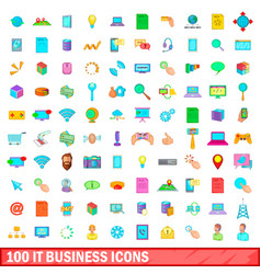 100 it business icons set cartoon style vector