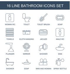16 bathroom icons vector