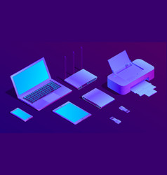 3d isometric ultraviolet laptop printer vector