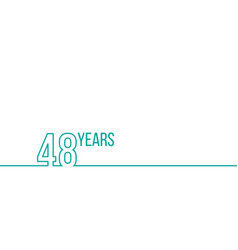 48 years anniversary or birthday linear outline vector