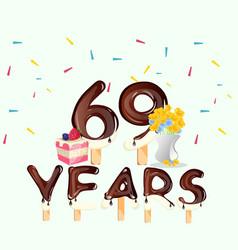 69th years happy birthday card vector image