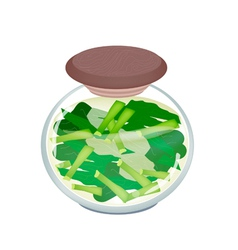 A Jar of Pickled Chopped Chinese Broccoli vector image