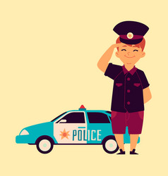a little boy in a police cap is standing at the vector image