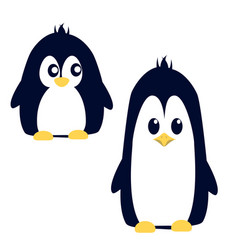 Abstract cute angry cartoon pinguin isolated on a vector