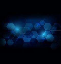 abstract dark blue geometric hexagon futuristic vector image