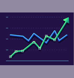 Abstract financial chart with two line moving up vector