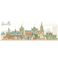 Abstract Seville Skyline with Color Buildings vector image