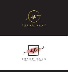 Ae initial signature logo vector