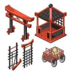 Architecture in classic Asian style cart with bag vector
