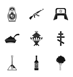 Attractions of russia icons set simple style vector