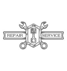 Auto service emblem sign vector