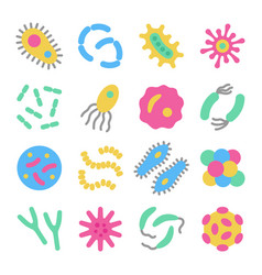 bacteria microbe virus colorful icon set vector image