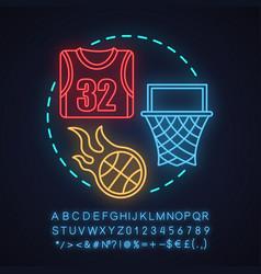 basketball neon light concept icon vector image