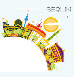 Berlin skyline with color buildings blue sky and vector