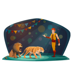 big top circus arena tiger and lion animals tamer vector image
