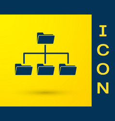 Blue folder tree icon isolated on yellow vector