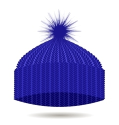 Blue Knitted Cap Isolated Winter Hat vector image