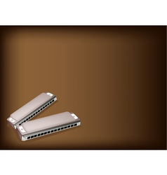 Blues Harmonica Brown Background vector