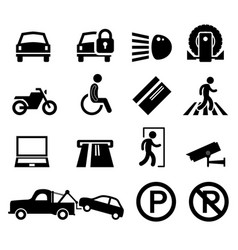 car park parking area sign symbol pictogram icon vector image