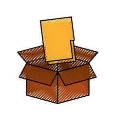 cardboard box folder file document storage concept vector image