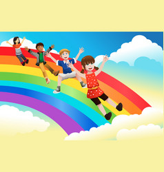 children sliding down the rainbow vector image