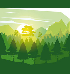 colorful background with landscape of pine trees vector image vector image
