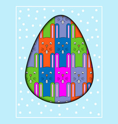 Colorful cartoon rabbit postcard with a funny vector
