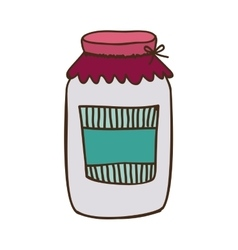 colorful glass jam with label and lid vector image